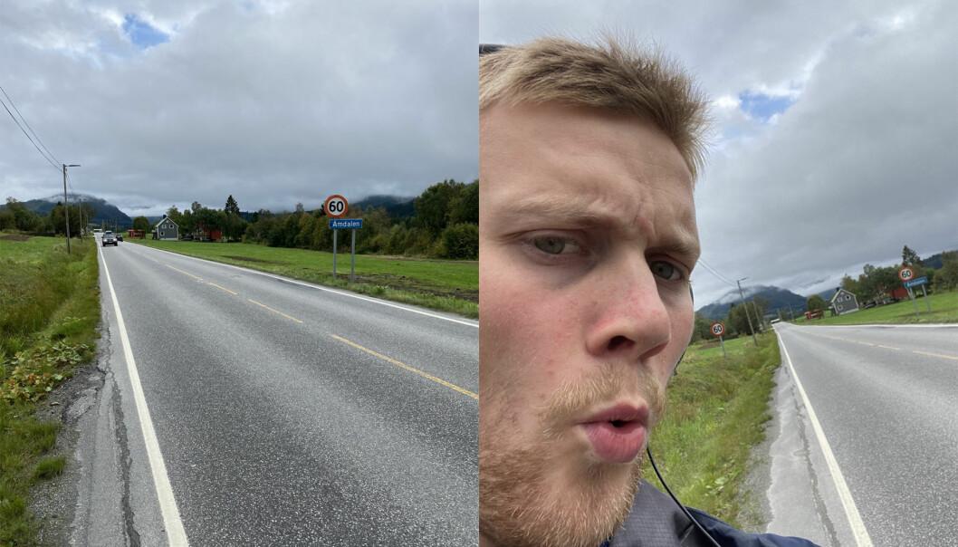 Reporter Bård Sørø Olsen skal teste ut Sirkelsag sin hypotese om at det tar en time å gå til Ørsta rådhus fra Åmdalen.
