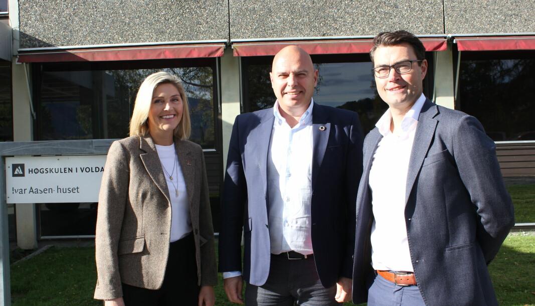 STYRET: Volda utvikling AS består av styremedlemmene Pergunn Rødseth Gjerdsbakk (f.v.), Ivar Kvangardsnes og styreleder Thomas Lundberg. På oppdrag fra Volda kommune skal de realisere Aasenkvartalet 2040.