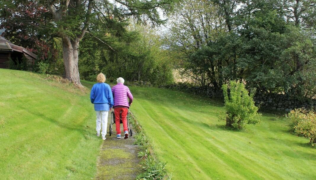 På veien til å bli frisk igjen, har pasientene ved Mork store uteområder de kan bevege seg på.