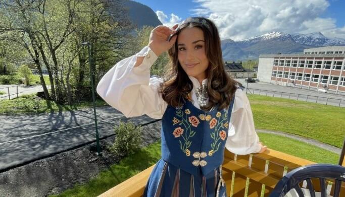 I VOLDA: Veronika rakk å feire 17. mai før avreise.