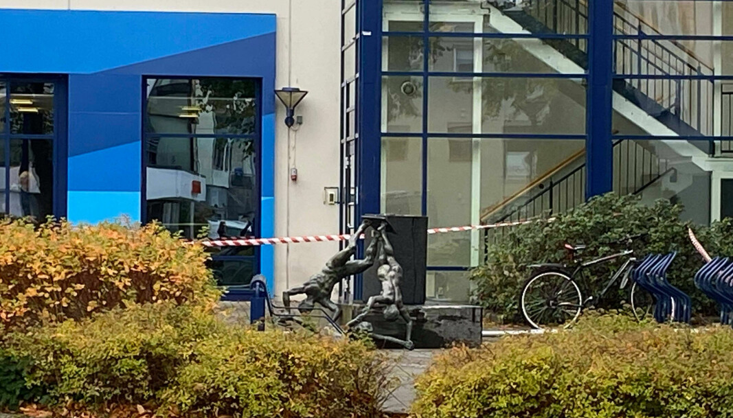 SKADER: Bilen påførte skader på en statue før den endte i en stolpe.